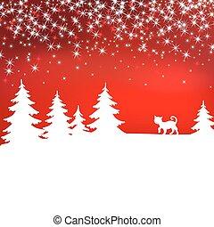 hiver, cat., noël, forest., arrière-plan., fée, blanc, paysage