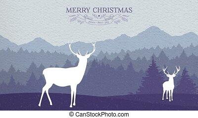 hiver, cerf, salutation, animation, joyeux noël, carte
