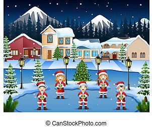 hiver, chants, noël, nuit, chant, enfants, paysage, heureux