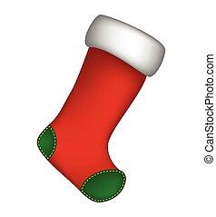 hiver, chaussette, isolé, illustration, symbole, arrière-plan., vecteur, icône, noël blanc, design.