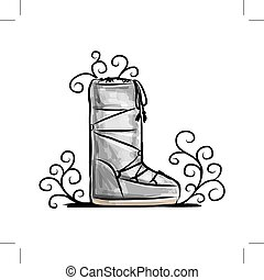 hiver, chaussures, croquis, pour, ton, conception