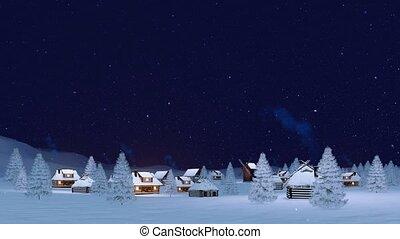 hiver, chute neige, 4k, nuit, township, confortable
