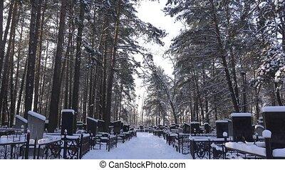 hiver, cimetière, ensoleillé, cimetière, jour, glacial