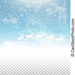 hiver, claus, ciel, isolé, neige, santa, fond, traîneau, tomber, transparent