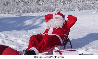 hiver, claus, ensoleillé, neige, glacial, santa, couvert, apprécier, jour, forêt