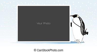 hiver, collage, porte-photo, illustration, vecteur, année, nouveau, ou