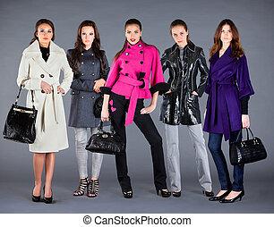 hiver, collection, automne, girls., cinq, dame, vêtements