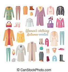 hiver, collection., automne, s, clothing., femmes