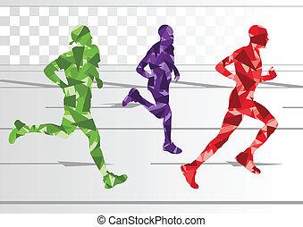 hiver, coloré, silhouettes, coureurs, fond, marathon