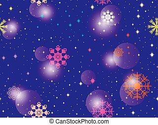 hiver, coloré, snowflakes., modèle, résumé, seamless, illustration, arrière-plan., bokeh, vecteur, effect.