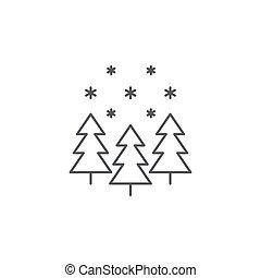 hiver, concept, isolé, neige, vecteur, forêt, fond, blanc, icône