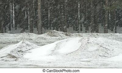 hiver, conduite, neigeux, voitures, suburbain, jour, route