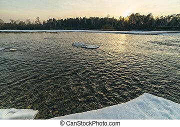 hiver, coucher soleil, dans, river.