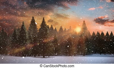 hiver, coucher soleil, paysage, neige, tomber