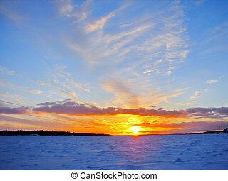 hiver, coucher soleil, sur, surgelé, mer baltique, dans, finlande