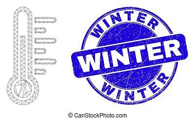 hiver, détresse, toile, maille, bleu, cachet, température