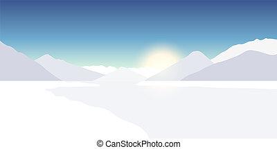 hiver, dans, les, nature, montagne neigeuse, paysage