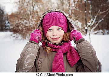 hiver, dehors, enfant, girl, jour, heureux