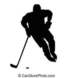 hiver, devant, isolé, glace, silhouette, sport, joueur, vecteur, hockey, vue