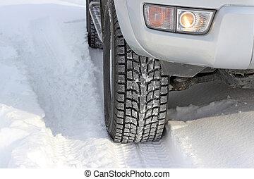 hiver, devant, neigeux, voiture, unrecognizable, route