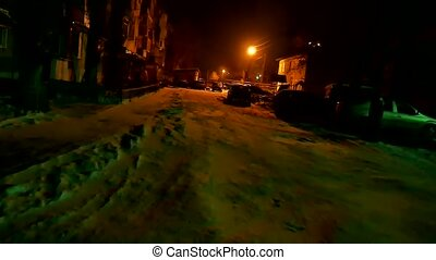 hiver, devant, voiture, voleur, maison, neige, va, nuit, ...