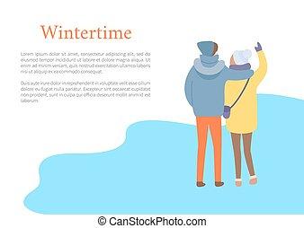 hiver, dos, vecteur, embrasser, couple, vue