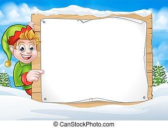 hiver, elfe, scène, signe, lutin, noël