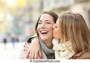 hiver, elle, baisers, ami fille, heureux