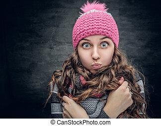 hiver, elle, face., girl, chapeau, merveille