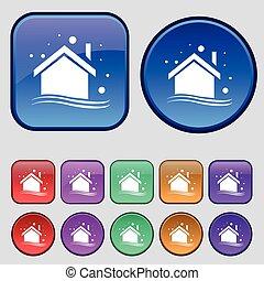 hiver, emmagasiner icône, signe., a, ensemble, de, douze, vendange, boutons, pour, ton, design., vecteur