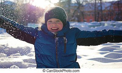 hiver, ensoleillé, parc, avoir, enfant, amusement, jour, heureux