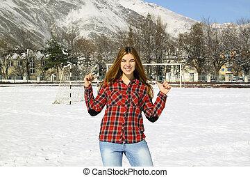hiver, ensoleillé, parc, jeune fille, jour, heureux