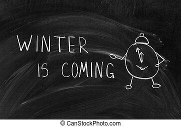hiver, est, venir, manuscrit, sur, a, tableau, à, craie