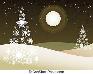 hiver, extérieur, thème, -, illustration