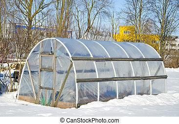 hiver, fait main, neige, serre, temps, légume, polyéthylène