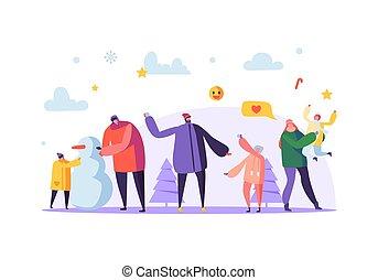hiver, famille, lancement, père, boule de neige, illustration, snowman., gai, holidays., vecteur, boules neige, caractères, mère, confection, jouer, heureux
