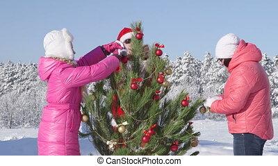 hiver, famille, récréatif, fetes, forêt, activité, noël