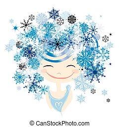hiver, femme, portrait, pour, ton, conception