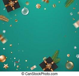 hiver, fetes, doré, table, accessoires, confetti
