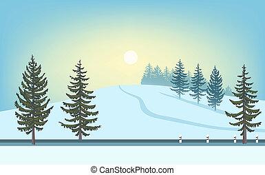 hiver, fir-tree., colline, route, neigeux, paysage., soleil, sur