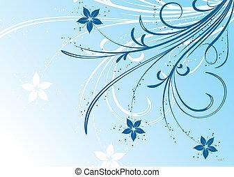 hiver, floral, fond, vecteur