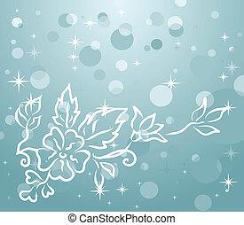 hiver, fond, à, floral, branche