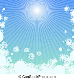 hiver, fond, à, lumière soleil