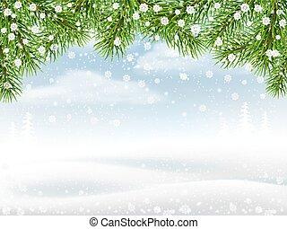 hiver, fond, à, pin, branches