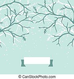 hiver, fond, conception, à, stylisé, arbre, branches.