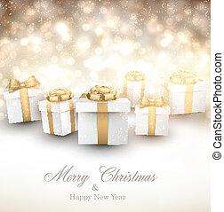 hiver, fond, gifts., noël, doré