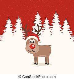 hiver, fond, renne, nez, santa chapeau, rouges