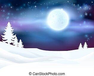 hiver, fond, scène
