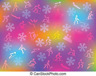 hiver, fond, sports