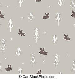 hiver, forêt, à, a, lapin
